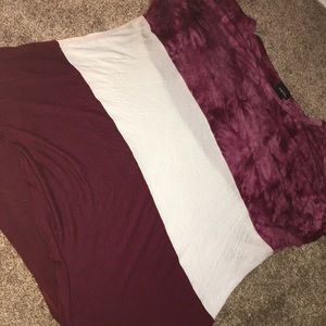 Rue21 maroon and white multi colored shirt